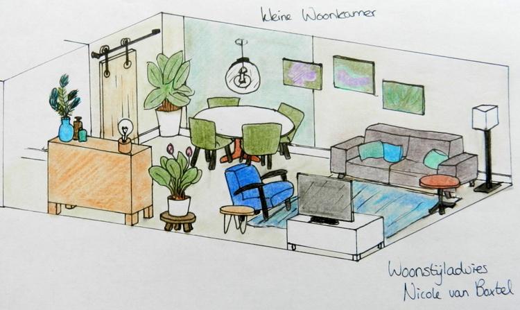 Kleine woonkamer 3D | Woonstijladvies.nl